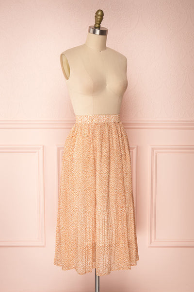 Kaltouma Beige & Orange Floral Midi Skirt side view | Boutique 1861