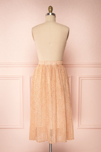 Kaltouma Beige & Orange Floral Midi Skirt back view | Boutique 1861