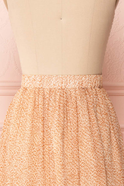 Kaltouma Beige & Orange Floral Midi Skirt back close up | Boutique 1861