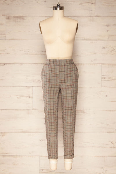 Kaluszyn Grey Straight Leg Plaid Pants | La petite garçonne front view