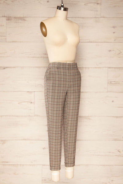 Kaluszyn Grey Straight Leg Plaid Pants | La petite garçonne side view