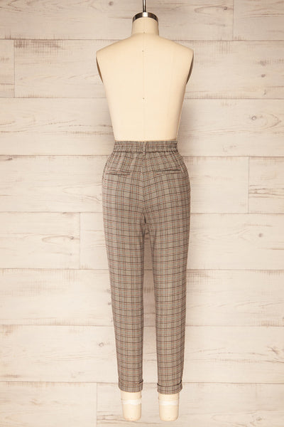 Kaluszyn Grey Straight Leg Plaid Pants | La petite garçonne back view