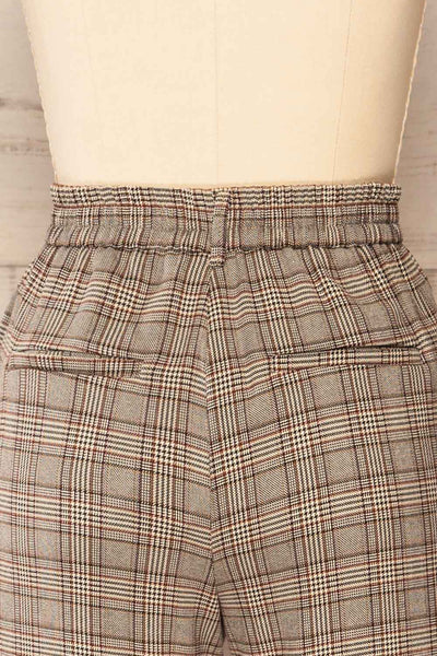 Kaluszyn Grey Straight Leg Plaid Pants | La petite garçonne back close-up