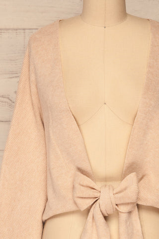 Kamararion Beige Tied Cropped Sweater | La Petite Garçonne front close-up