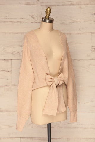 Kamararion Beige Tied Cropped Sweater | La Petite Garçonne side view