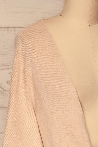 Kamararion Beige Tied Cropped Sweater | La Petite Garçonne side close-up