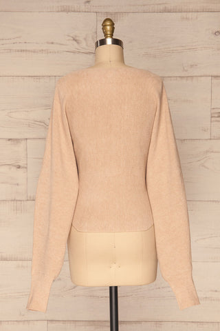 Kamararion Beige Tied Cropped Sweater | La Petite Garçonne back view