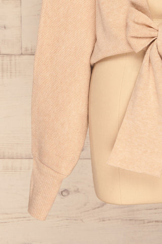 Kamararion Beige Tied Cropped Sweater | La Petite Garçonne bottom close-up