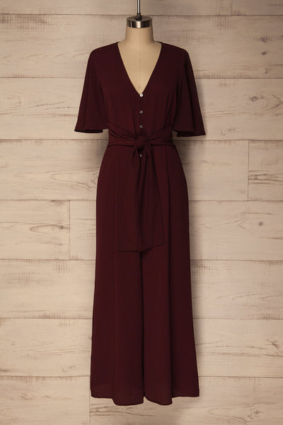 Kamatra Plum Burgundy Button-Up Jumpsuit | La Petite Garçonne