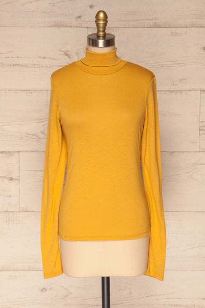 Kamien Citrine Mustard Yellow Turtleneck Top  | FRONT VIEW | La Petite Garçonne