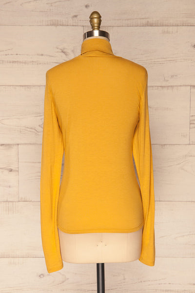 Kamien Citrine Mustard Yellow Turtleneck Top | BACK VIEW | La Petite Garçonne
