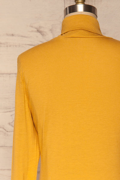 Kamien Citrine Mustard Yellow Turtleneck Top | BACK CLOSE UP  | La Petite Garçonne
