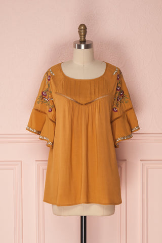 Kamily Mustard Yellow Loose T-Shirt with Embroidery | Boutique 1861