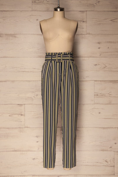 Kammena Green, Navy Blue & Pink Striped Pants | La Petite Garçonne