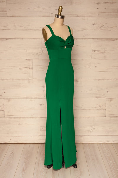 Kamza Green Fitted Maxi Dress w/ Slit | La petite garçonne side view