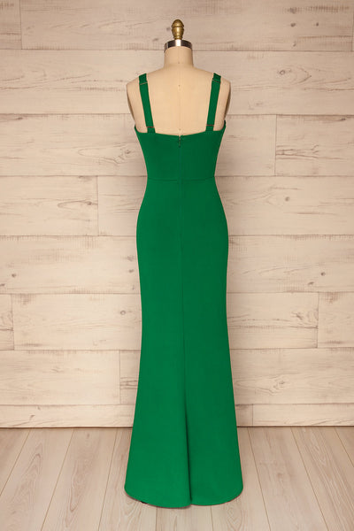 Kamza Green Fitted Maxi Dress w/ Slit | La petite garçonne back view