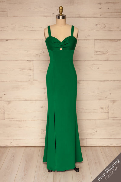 Kamza Green Fitted Maxi Dress w/ Slit | La petite garçonne front view