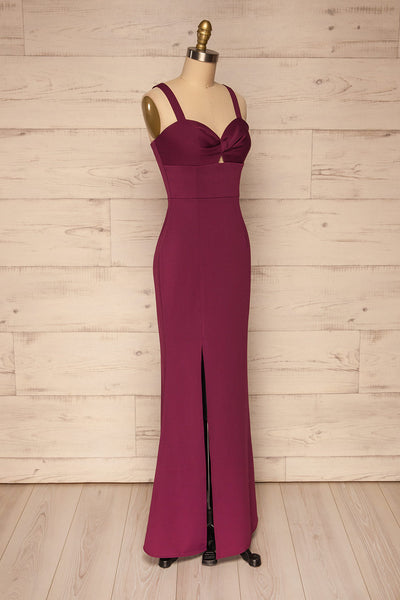 Kamza Purple Fitted Maxi Dress w/ Slit | La petite garçonne side view