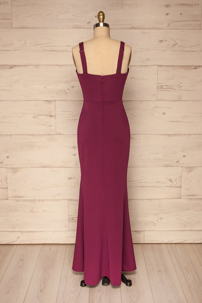 Kamza Purple Fitted Maxi Dress w/ Slit | La petite garçonne back view