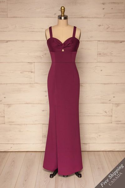Kamza Purple Fitted Maxi Dress w/ Slit | La petite garçonne front view