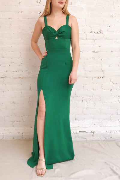 Kamza Green Fitted Maxi Dress w/ Slit | La petite garçonne front model