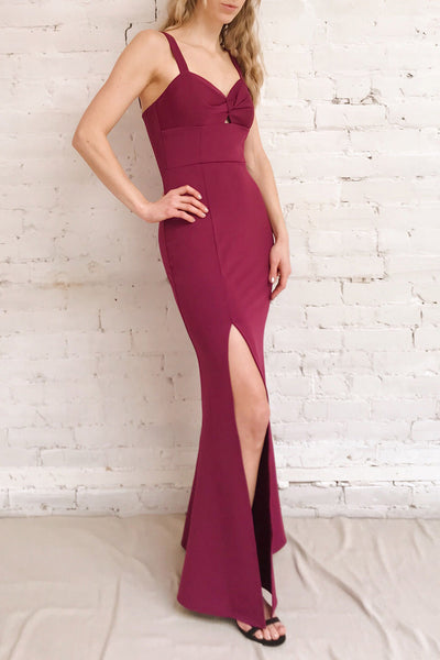 Kamza Purple Fitted Maxi Dress w/ Slit | La petite garçonne on model