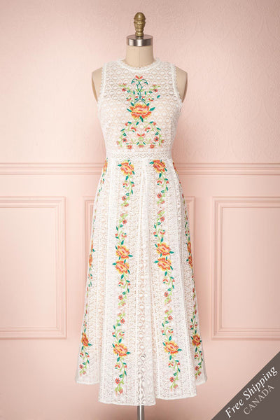 Kaneki White Lace Embroidered Midi A-Line Dress | Boudoir 1861