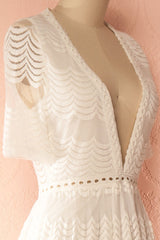 Kaori Light White Lace Jumpsuit with See-Through Skirt | Boudoir 1861