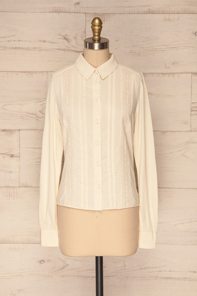 Kargowa Cream Button-Up Shirt with Lace Details | FRONT VIEW | La Petite Garçonne