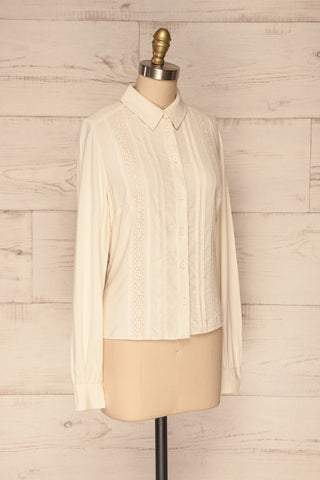 Kargowa Cream Button-Up Shirt with Lace Details | SIDE VIEW | La Petite Garçonne