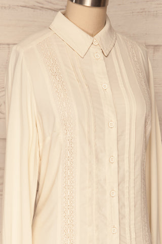 Kargowa Cream Button-Up Shirt with Lace Details | SIDE CLOSE UP | La Petite Garçonne
