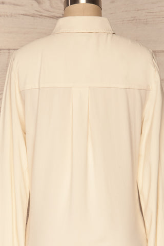 Kargowa Cream Button-Up Shirt with Lace Details | BACK CLOSE UP | La Petite Garçonne