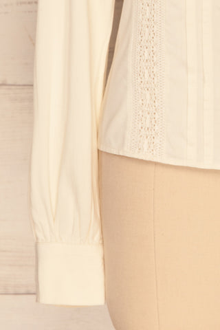 Kargowa Cream Button-Up Shirt with Lace Details | SLEEVE CLOSE UP | La Petite Garçonne