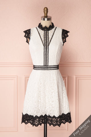 Karita Black & White Lace Cocktail Dress | Boutique 1861