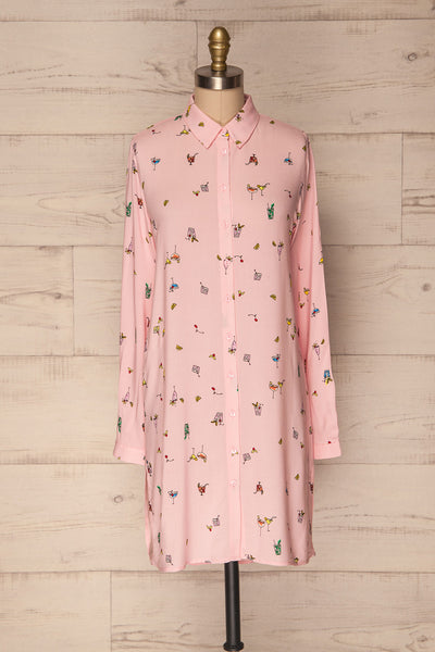 Karitaina Pink Shirt Dress With Cocktail Pattern | La Petite Garçonne