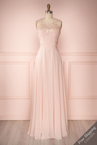 Karley Rose Pink Chiffon & Lace Flare Gown | Boutique 1861
