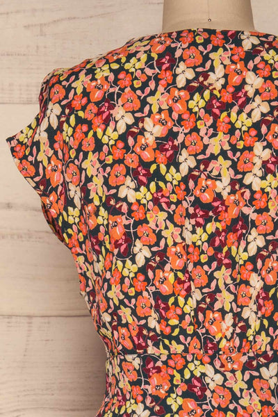 Karpacz Blue & Orange Floral Romper | La Petite Garçonne back close up