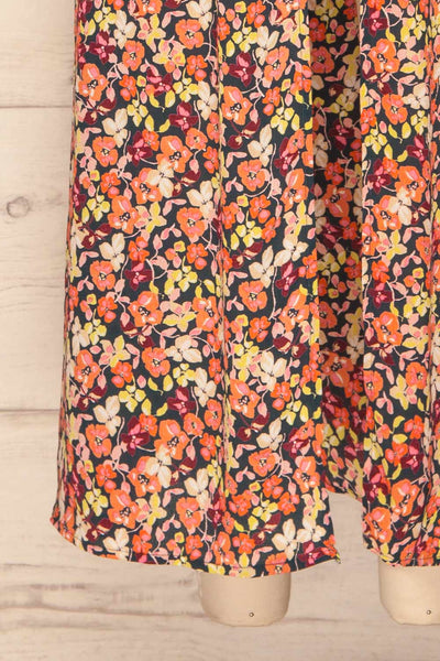 Karpacz Blue & Orange Floral Romper | La Petite Garçonne bottom close up