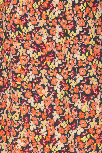 Karpacz Blue & Orange Floral Romper | La Petite Garçonne fabric detail