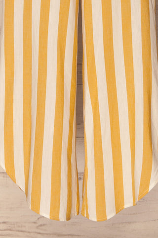 Karpathos White & Yellow Striped Wide Leg Pants | La Petite Garçonne