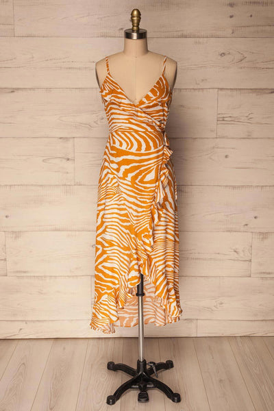 Kartuzy Orange Zebra Pattern Wrap Summer Dress | La Petite Garçonne