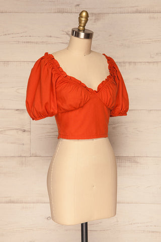 Karvounari Burnt Orange Off-Shoulder Crop Top | La Petite Garçonne 3