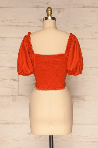 Karvounari Burnt Orange Off-Shoulder Crop Top | La Petite Garçonne 5
