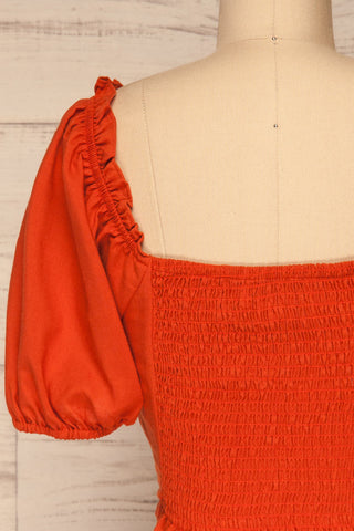 Karvounari Burnt Orange Off-Shoulder Crop Top | La Petite Garçonne 6