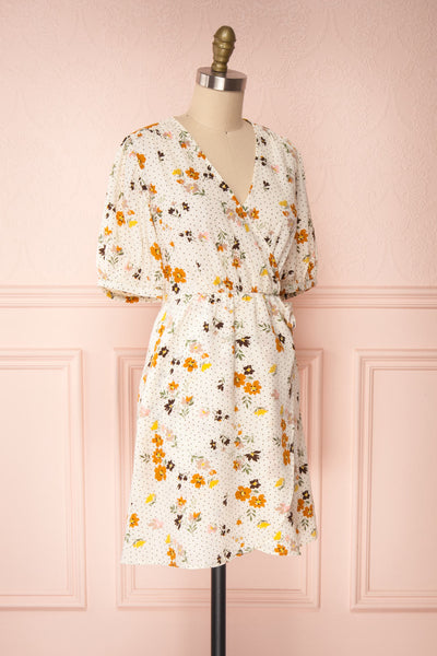 Kassy Beige Floral Patterned Short Dress | Boutique 1861 side view