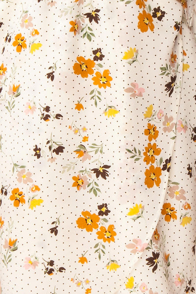 Kassy Beige Floral Patterned Short Dress | Boutique 1861 fabric