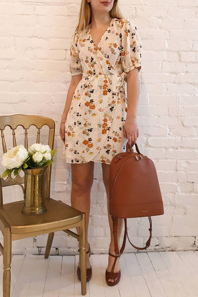 Kassy Beige Floral Patterned Short Dress | Boutique 1861 model look 1
