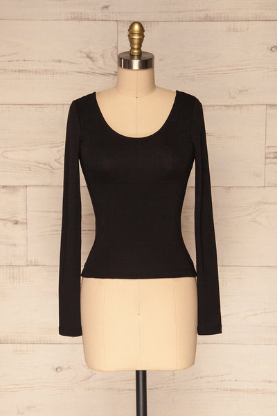 Kastellion Black Long Sleeved Fitted Crop Top | La Petite Garçonne 1