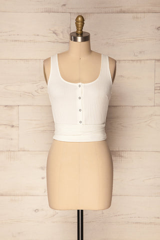 Kaster White Button-up Ribbed Sleeveless Crop Top | La Petite Garçonne