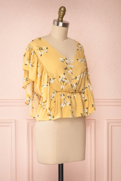Katalina Yellow Floral Top with Frills | Boutique 1861 side view